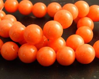 10 beads of Jade Pêche10mm ref 634