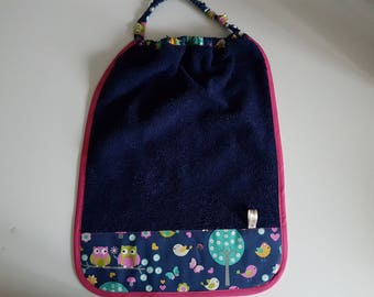 """Napkin or canteen, Terry cloth and Navy Blue """"birds"""" 40cm x 30cm with elastic"""