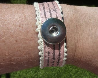 Pink 1 fabric strap with Scriptures for 20mm silver metal snap