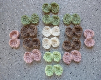 16 bows-crocheted wool handmade