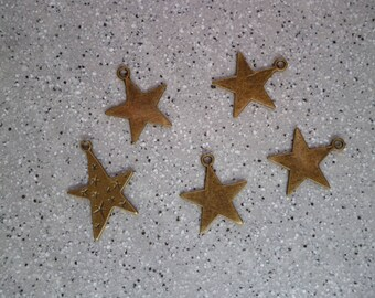 5 star charms metal bronze 20 mm approx