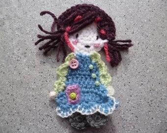 Handmade crochet wool applique girl 1