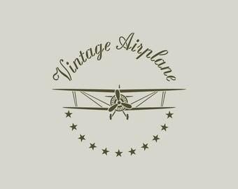 Biplane stencil. Vintage airplane (ref 635) stencil