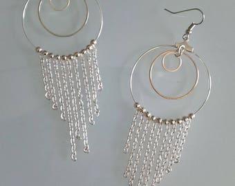 Pendant creole earrings silver