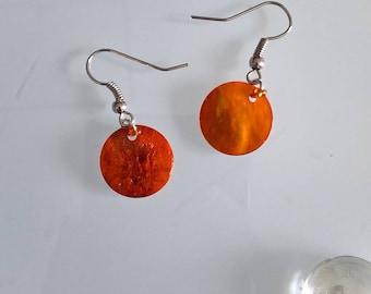 Genuine orange mother of Pearl Earring