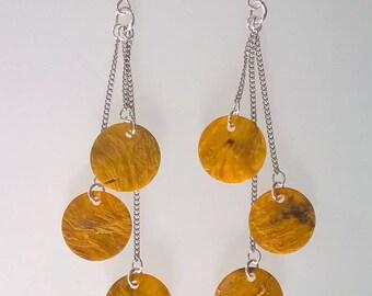 Genuine yellow mother of pearl earrings