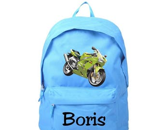 Blue bike backpack personalized with name