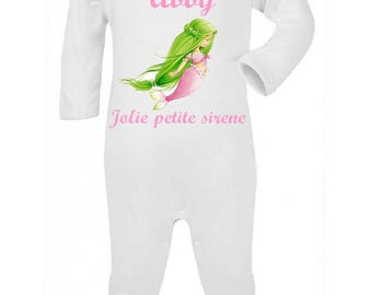 Beautiful little Mermaid personalized with name baby pajamas