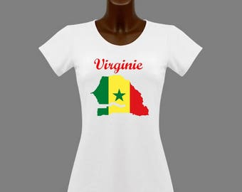 T-shirt women white Senegal personalized with name
