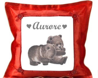 Red pillow bears personalized with name