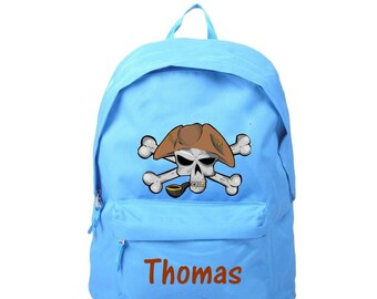 bag has blue Pirate personalized with name