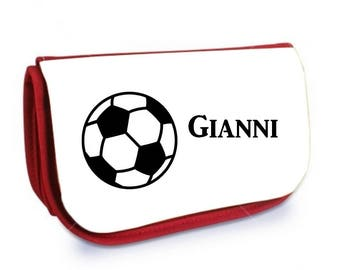 Cosmetic case red /crayons football personalized with name