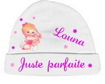Personalized with name perfect just white baby bonnet