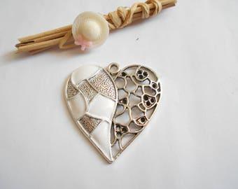 45 x 48 mm white silver heart pendant