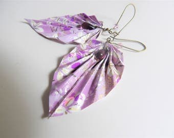 Origami leaf earrings * origami jewelry * Japanese WASHI paper purple and white * Bohemian glass beads