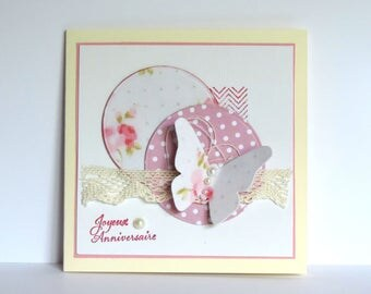 carte faite main, anniversaire femme, dentelle, papillon, carte romantique, shabby. Fait main