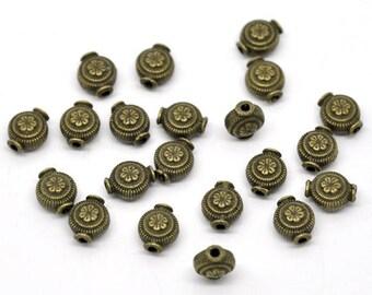 Set of 5 inserts beads metal bronze T27