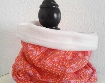 Snood neck polar fabric woman orange