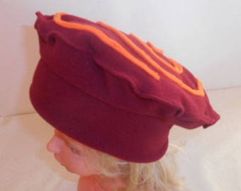 Hat girl all fleece red and orange spiral pattern