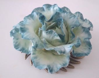 Brooch large pink wavy blue and green gradient