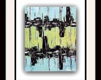 Modern abstract art painting  home decor blue lime black 20x 18 / Art moderne abstrait peinture bleu lime noir