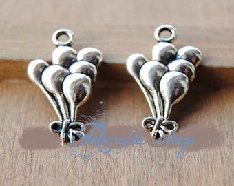 3 balloon bouquet, silver charms antique, 13 * 23 mm