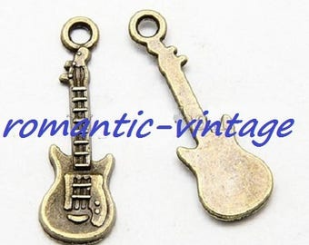 "10 charms, charms ""Hendrix"" guitar bronze 24 * 9mm"