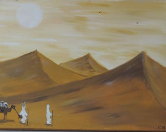 desert-paintings made with acrylic paint - yellow ochre