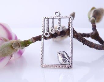 6 window 33 x 19 mm - silver bird connectors pendants