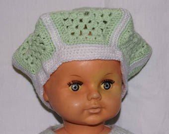 sea green and white children beret crocheted