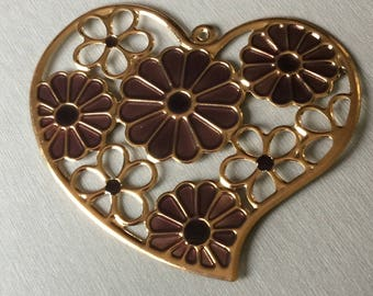 Golden Heart and purple and white enamel