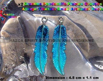2 feathers native Americans of 4.5 cm x 1.1 cm in silver painted and RESINED hand iridescent colors