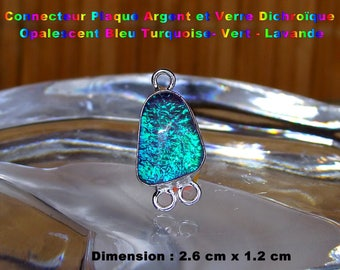 Glass silver plated connector dichroic Opalescent-Turquoise-green - Lavender 2.6 cm - #7
