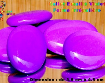 4 Pebble stone shape enamel irregular purple 3.5 cm to 4.5 cm
