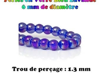 60 6 mm to ∅ color Royal Blue AB iridescent glass beads