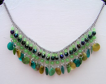 bib necklace in shades of green beads Boutikanath
