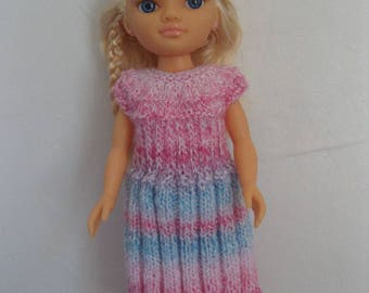 Dress doll clothes for Nancy or Vidal Rojas, 43 cm, pastel pink and blue
