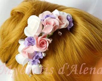 Comb wedding comb bridal comb with flowers, Swarovski Crystal hair comb accessory comb hair.