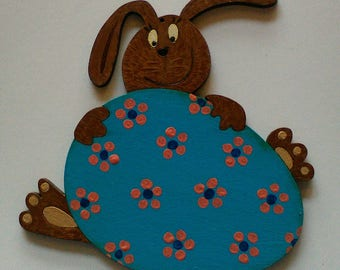 Cut and painted wooden Easter Bunny