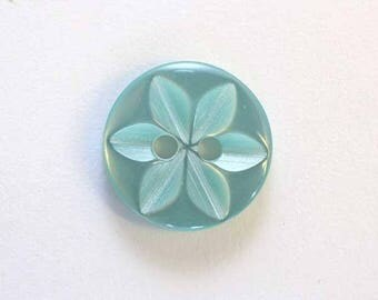 Button star 11 mm x 100 Turquoise 2 hole - 001593