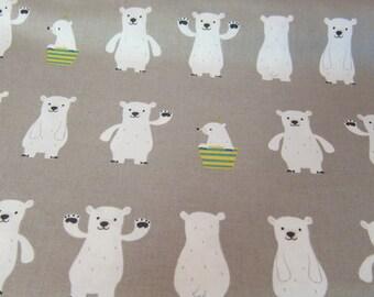 White bear kiyohara fabric on grey background