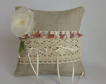 Pillow wedding ring pillow wedding - natural linen - Ribbon tassels and lace - pink organza