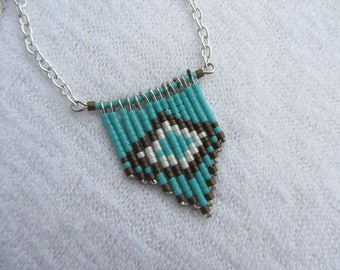 ethnic, Native American pendant necklace, glass beads Japanese miyuki turquoise, beige and Brown, silver plated chain