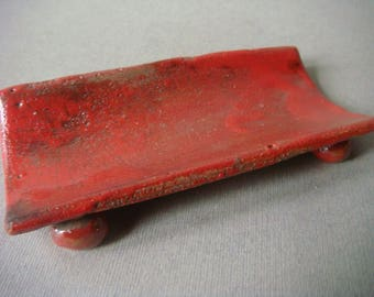 Red raku ceramic spoon rest