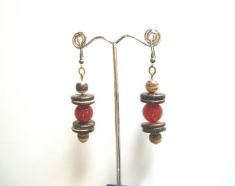 Bronze earrings with carnelian stones and coconut rings and beads