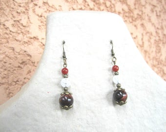 Earrings consisted of stones of carnelian, Tiger eye and rock crystal