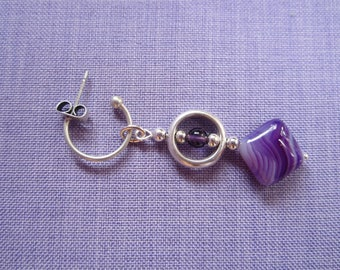 Earrings silver plated, agate and Amethyst