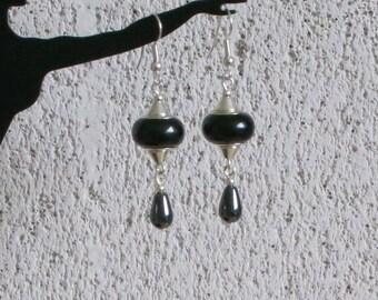 Black earrings, charms pandora drops hematite stone beads