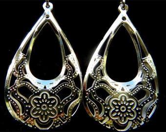 Earrings dangling flower basket 990 sterling silver