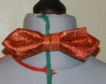 Red bow tie orange gold Indian
